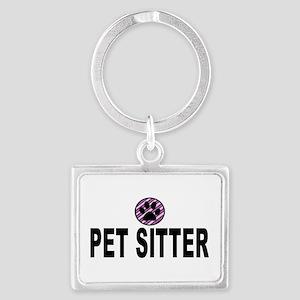 Pet Sitter Purple Circle Paw Keychains