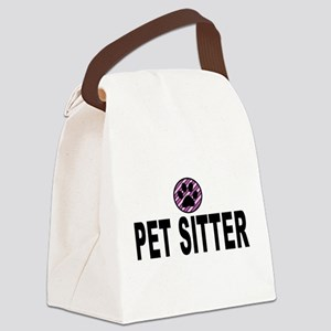 Pet Sitter Purple Circle Paw Canvas Lunch Bag