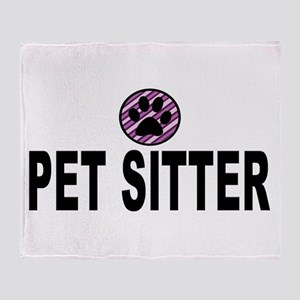 Pet Sitter Purple Circle Paw Throw Blanket