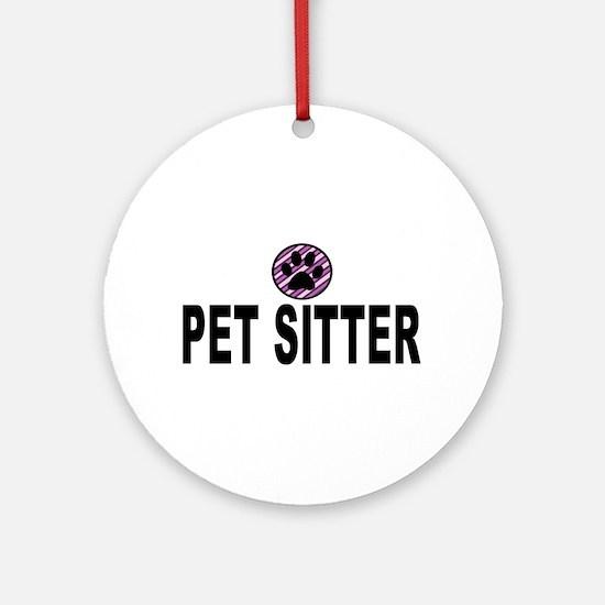 Pet Sitter Purple Circle Paw Ornament (Round)