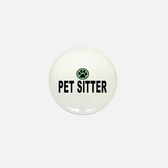 Pet Sitter Green Stripes Mini Button