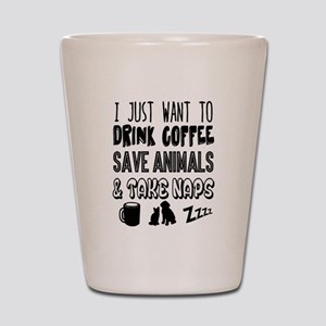 Coffee Animals Naps Shot Glass