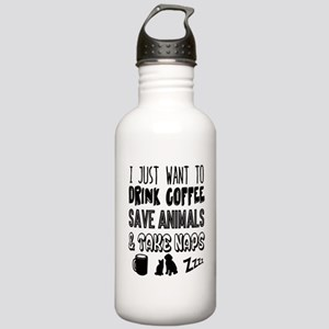Coffee Animals Naps Stainless Water Bottle 1.0L
