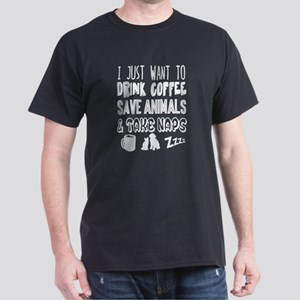 Coffee Animals Naps Dark T-Shirt