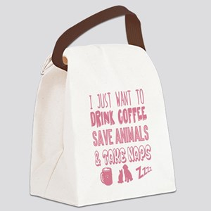 Coffee Animals Naps Canvas Lunch Bag