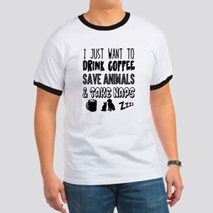 Coffee Animals Naps Ringer T