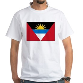 Antigua Barbuda Flag White T-Shirt