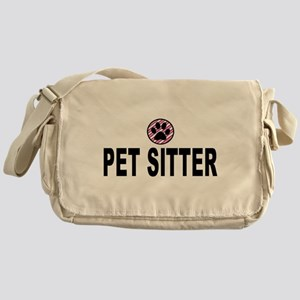 Pet Sitter Pink Circle Paw Messenger Bag