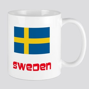 Sweden Flag Retro Red Design Mugs
