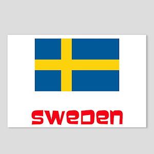 Sweden Flag Retro Red Des Postcards (Package of 8)