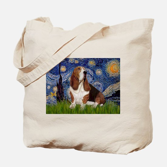 Starry Night Basset Tote Bag