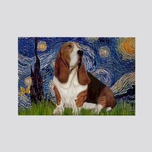 Starry Night Basset Rectangle Magnet
