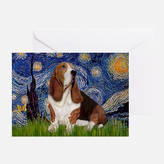 Starry Night Basset Greeting Cards (Pk of 10)
