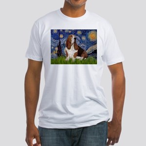 Starry Night Basset Fitted T-Shirt