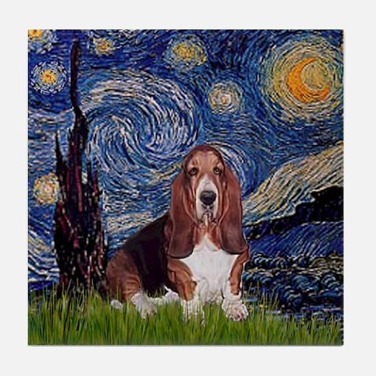 Starry Night Basset Tile Coaster