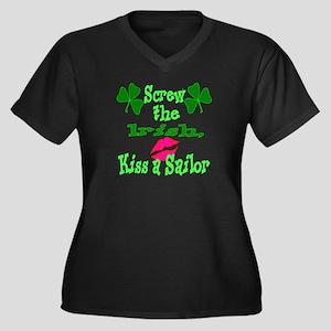 Kiss a sailor Women's Plus Size V-Neck Dark T-Shir