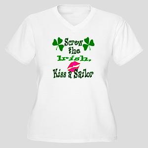 Kiss a sailor Women's Plus Size V-Neck T-Shirt