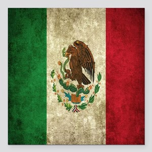 """Mexican Flag Square Car Magnet 3"""" x 3"""""""