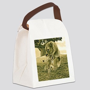 Hunting Lioness Canvas Lunch Bag