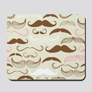 Pink & Brown Mustache Design Mousepad