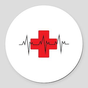 MEDICAL CROSS Round Car Magnet