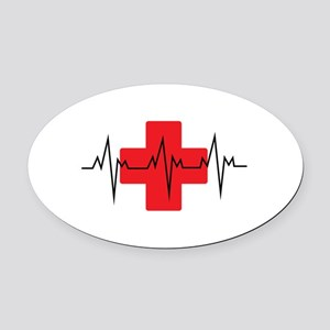 MEDICAL CROSS Oval Car Magnet