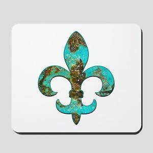 Turquoise Fleur de lis Mousepad
