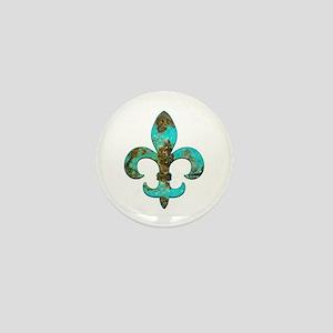 Turquoise Fleur de lis Mini Button