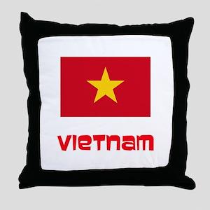 Vietnam Flag Retro Red Design Throw Pillow