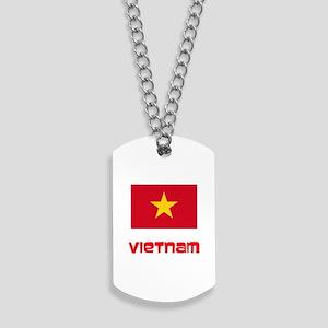 Vietnam Flag Retro Red Design Dog Tags
