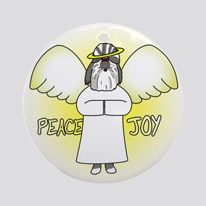 Grey Peace Joy Shih Tzu Christmas Ornament