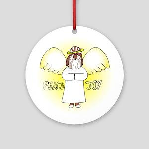Red Peace Joy Shih Tzu Christmas Ornament