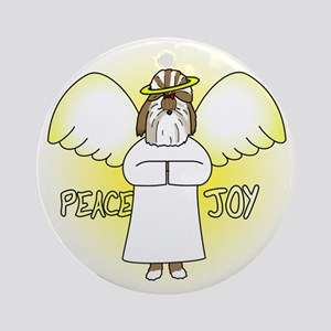 Gold Peace Joy Shih Tzu Christmas Ornament