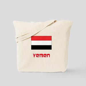 Yemen Flag Retro Red Design Tote Bag