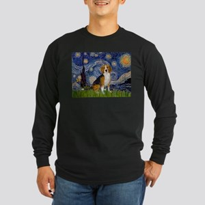 Starry Night & Beagle Long Sleeve Dark T-Shirt