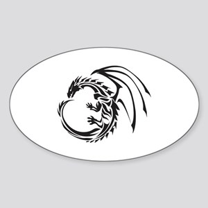 Tribal Dragon Sticker (Oval)