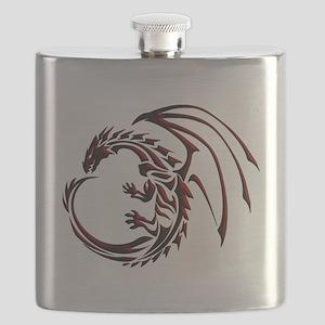 Tribal Dragon Red & Black Flask
