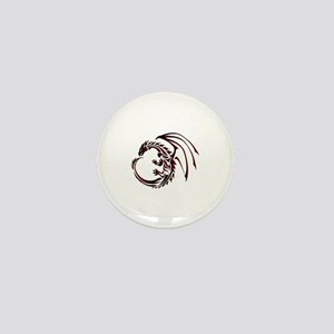 Tribal Dragon Red & Black Mini Button