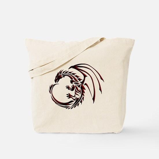 Tribal Dragon Red & Black Tote Bag