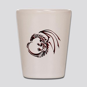 Tribal Dragon Red & Black Shot Glass