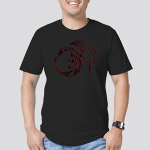 Tribal Dragon Red & Bl Men's Fitted T-Shirt (dark)
