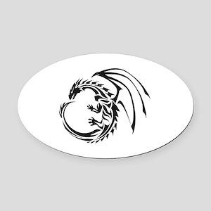 Tribal Dragon Oval Car Magnet