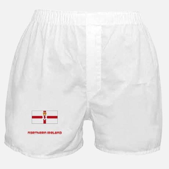 Northern Ireland Flag Retro Red Desig Boxer Shorts