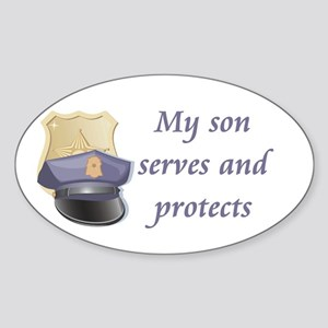 My son serves and protects Oval Sticker