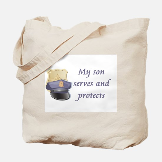 My son serves and protects Tote Bag