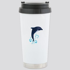 DOLPHIN AND WATER SWIRLS Travel Mug