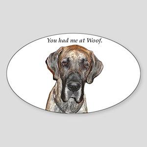 Great Dane Jamie You Had Me a Oval Sticker