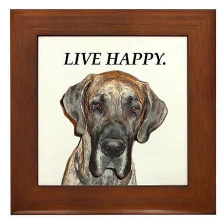 Great Dane Jamie Live Happy Framed Tile