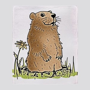 Cute Groundhog Throw Blanket