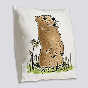 Cute Groundhog Burlap Throw Pillow